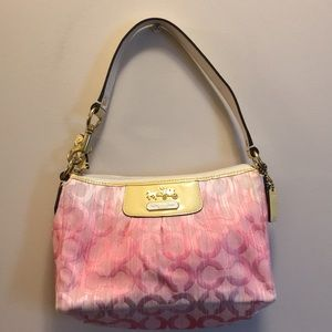Coach pink monogram fabric purse